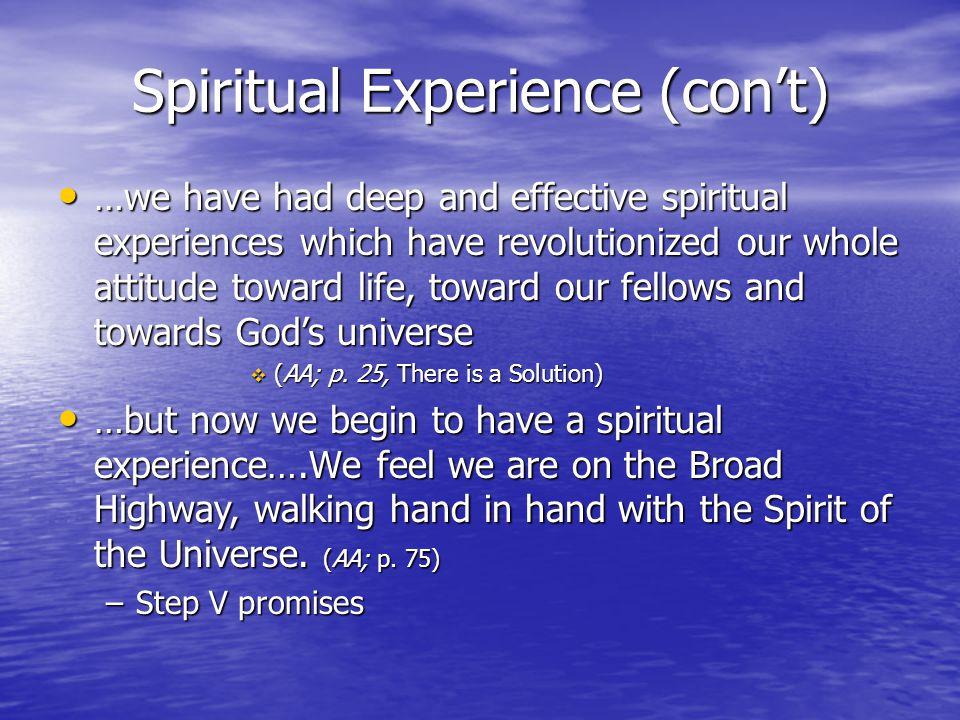 Spiritual Experience (con't)