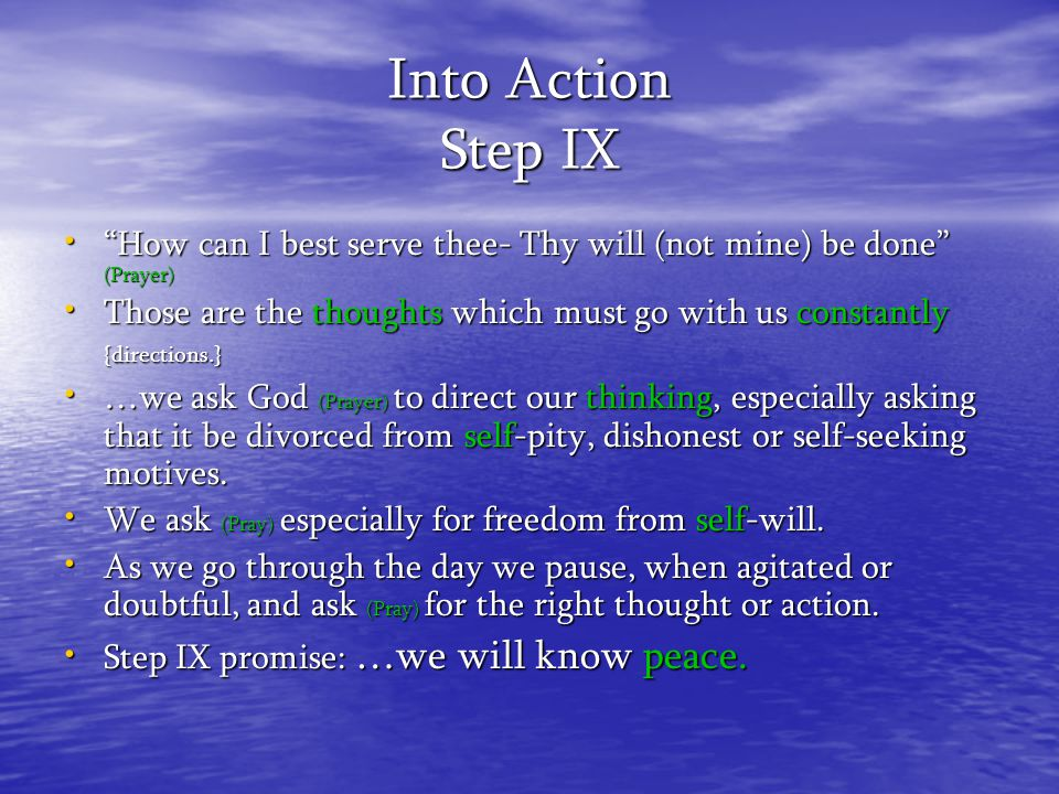Into Action Step IX How can I best serve thee- Thy will (not mine) be done (Prayer)