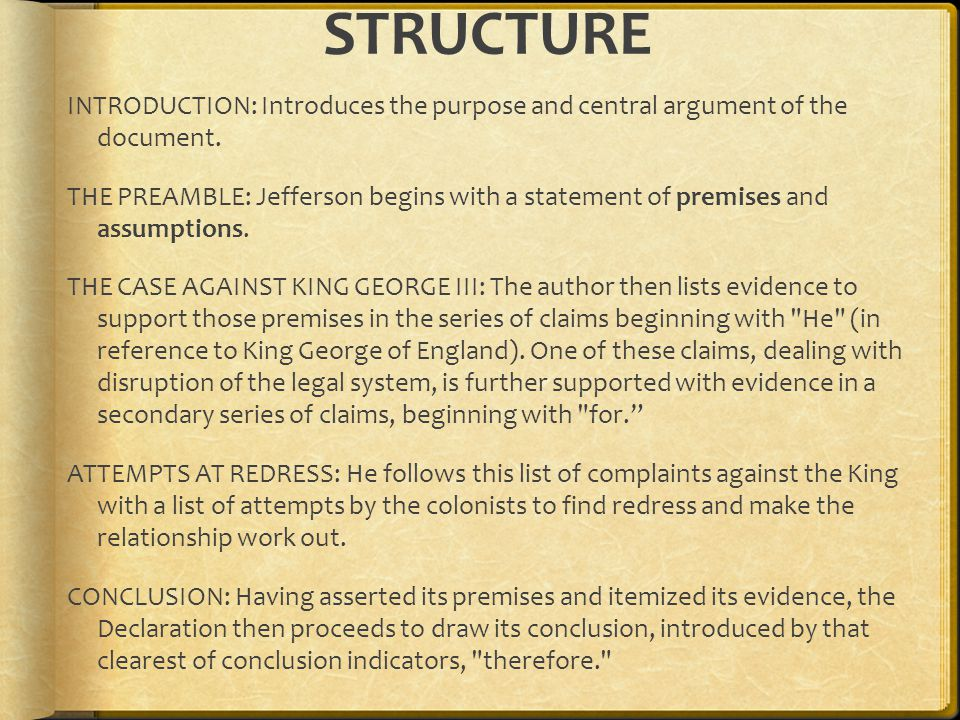 STRUCTURE INTRODUCTION: Introduces the purpose and central argument of the document.