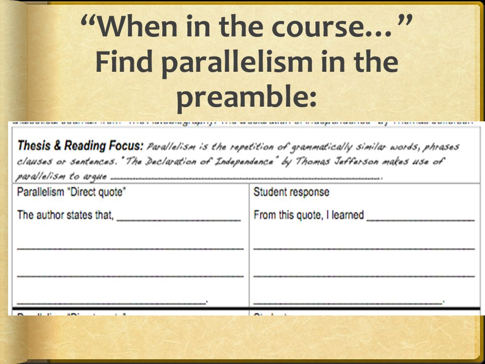 When in the course… Find parallelism in the preamble: