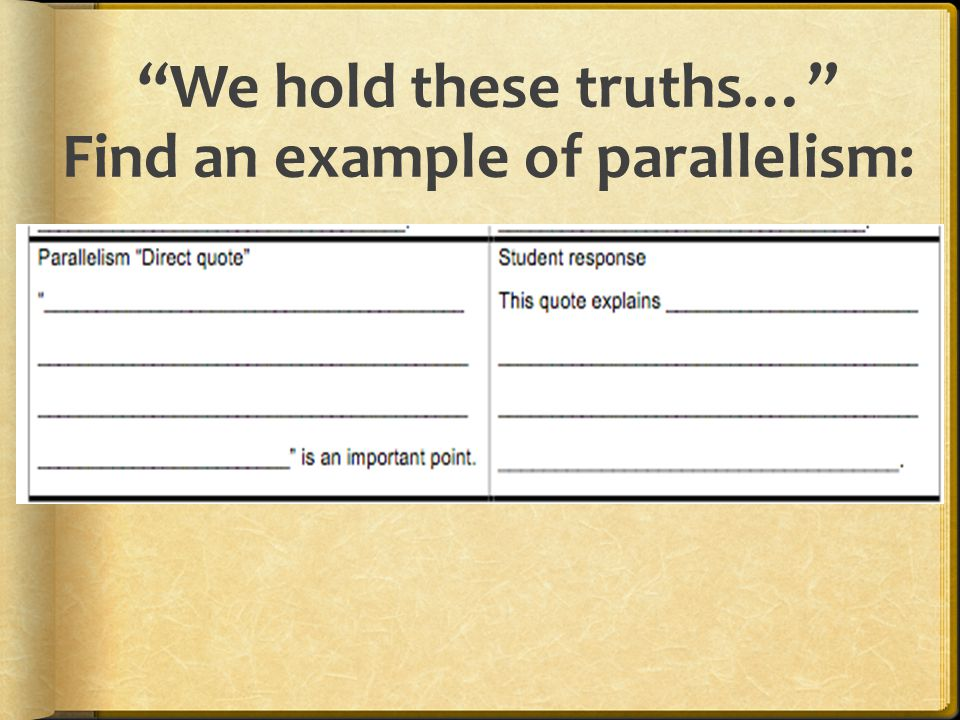 We hold these truths… Find an example of parallelism: