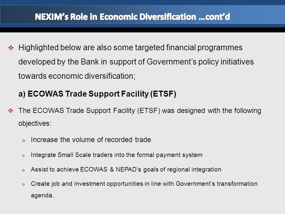 NEXIM's Role in Economic Diversification …cont'd
