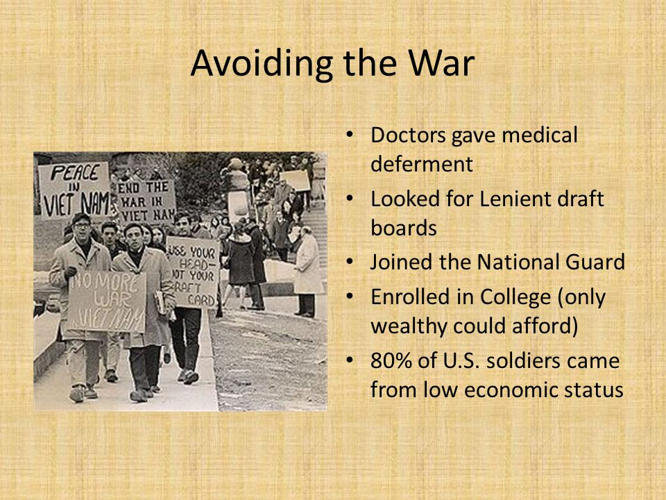 Avoiding the War Doctors gave medical deferment