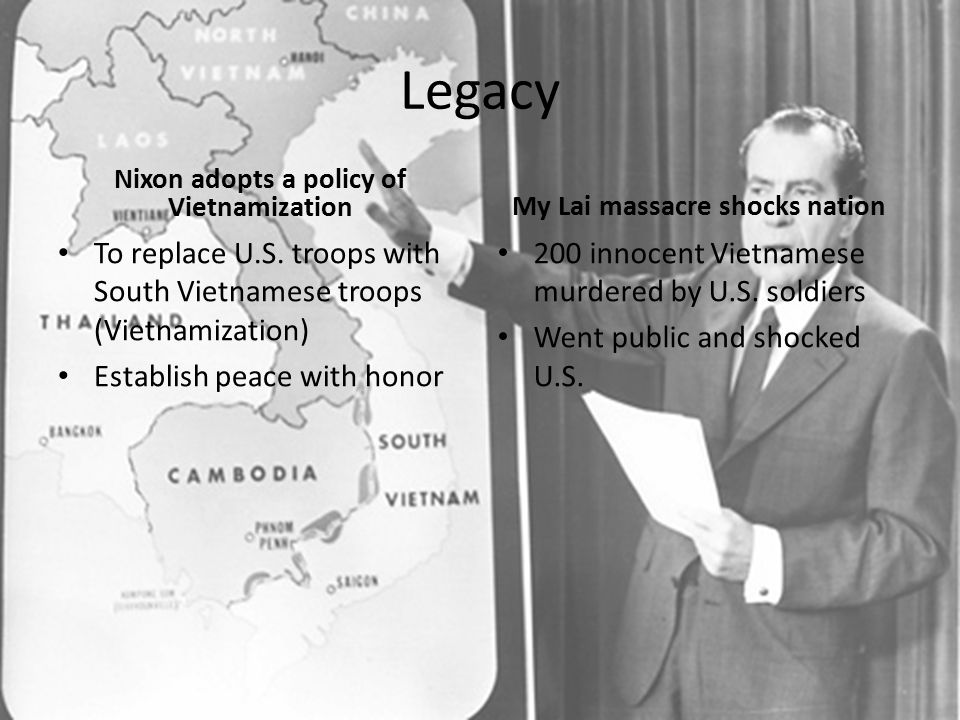 Nixon adopts a policy of Vietnamization My Lai massacre shocks nation