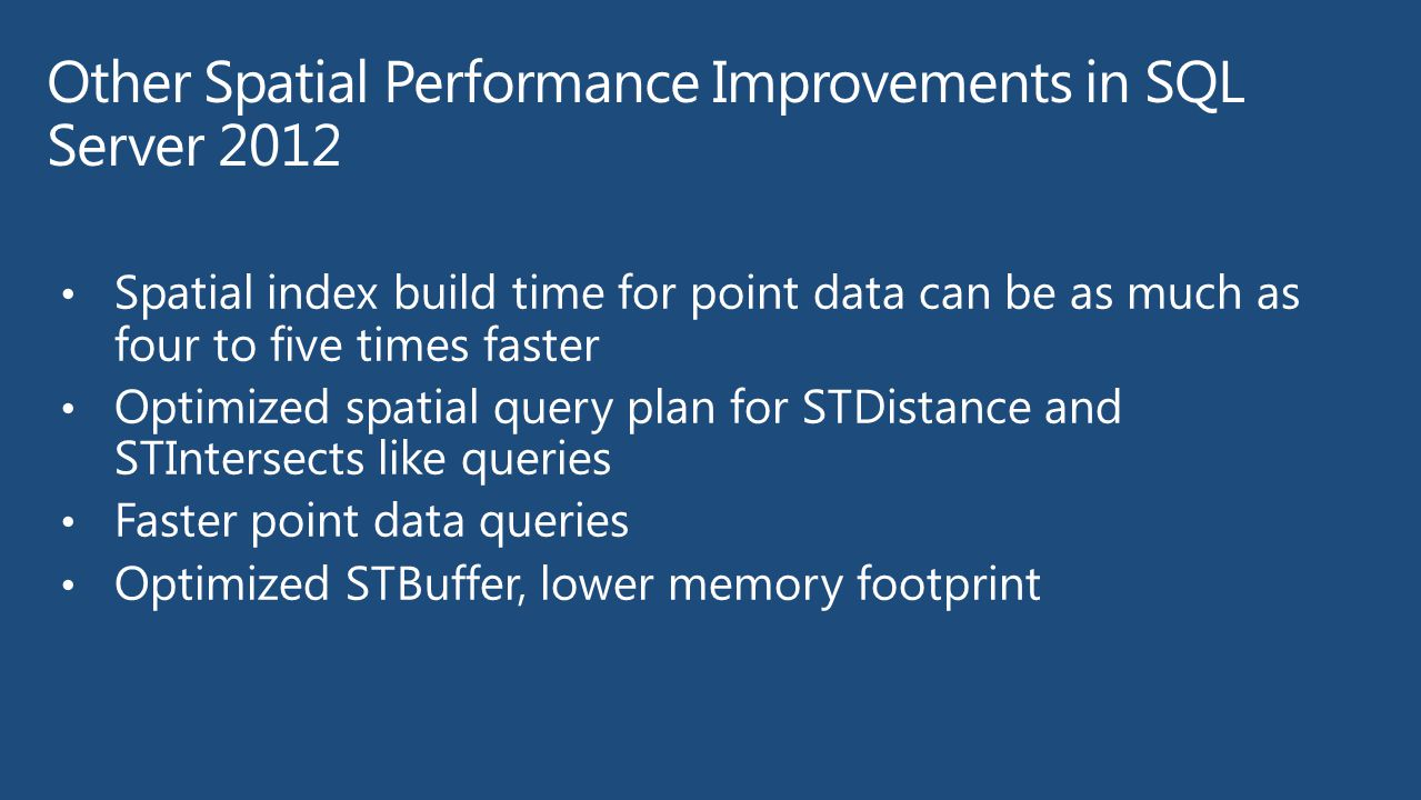 Other Spatial Performance Improvements in SQL Server 2012