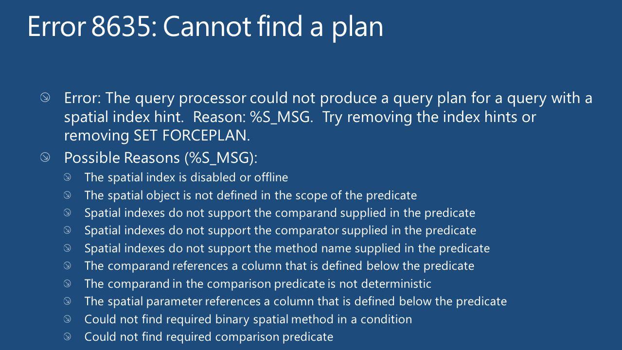 Error 8635: Cannot find a plan