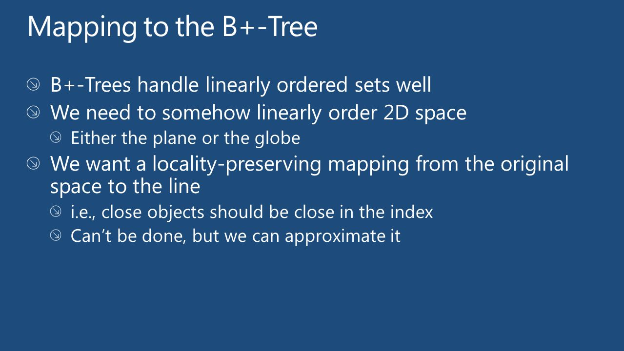 Mapping to the B+-Tree B+-Trees handle linearly ordered sets well