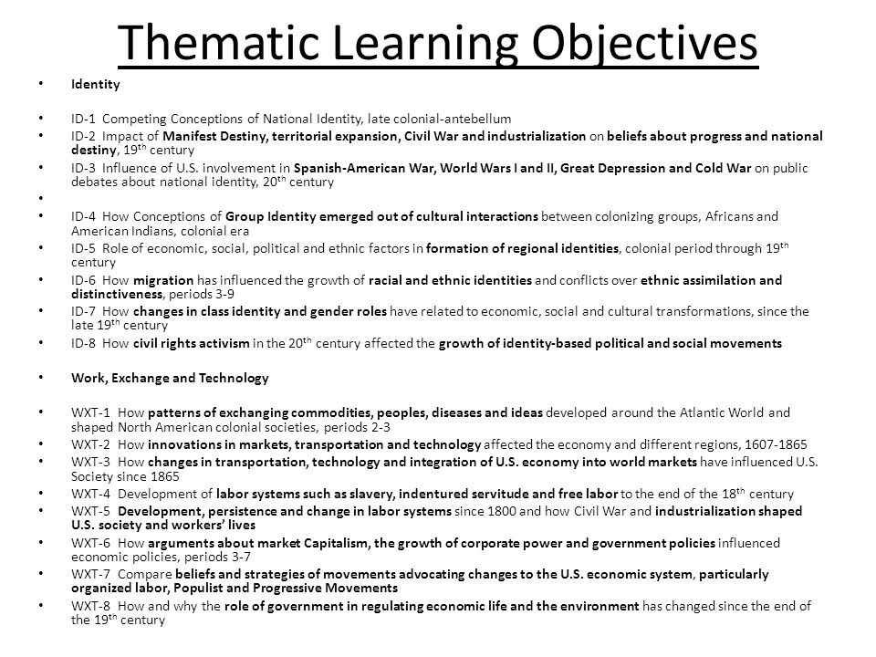 Thematic Learning Objectives
