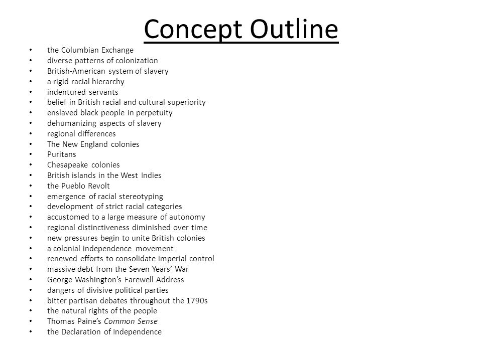Concept Outline the Columbian Exchange