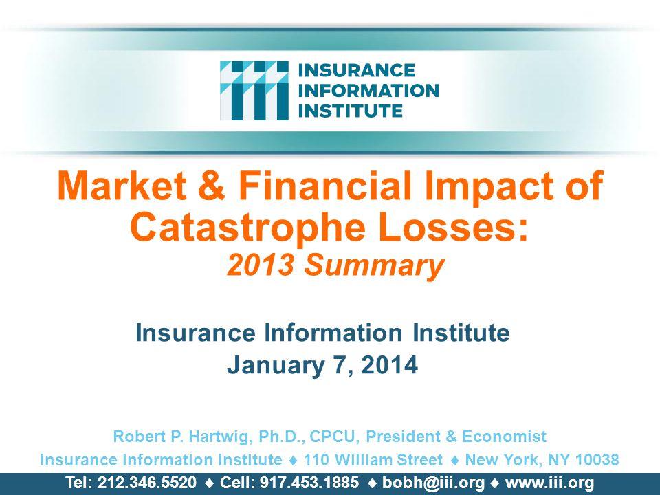 Market & Financial Impact of Catastrophe Losses: 2013 Summary
