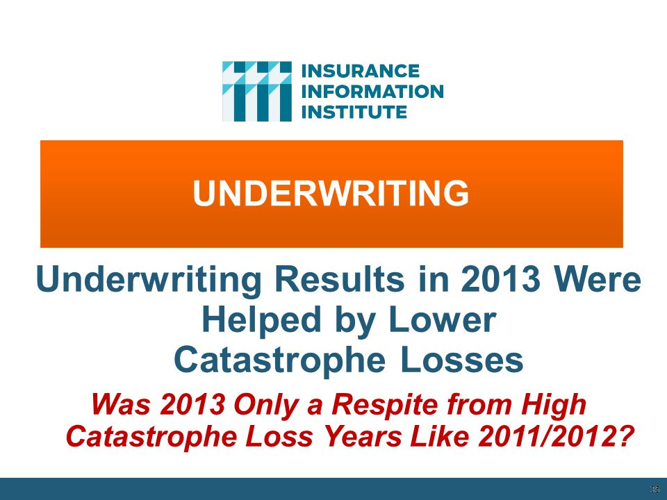 Underwriting Results in 2013 Were Helped by Lower Catastrophe Losses