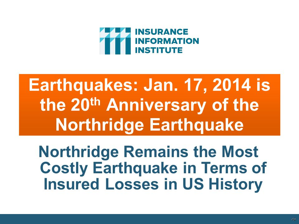 Earthquakes: Jan. 17, 2014 is the 20th Anniversary of the Northridge Earthquake