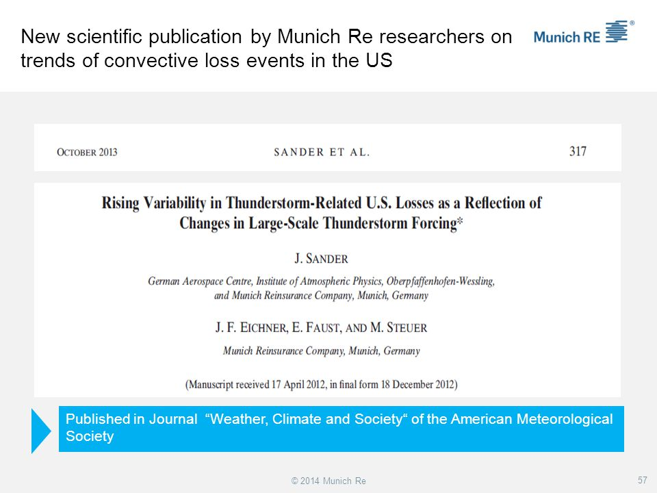 New scientific publication by Munich Re researchers on trends of convective loss events in the US
