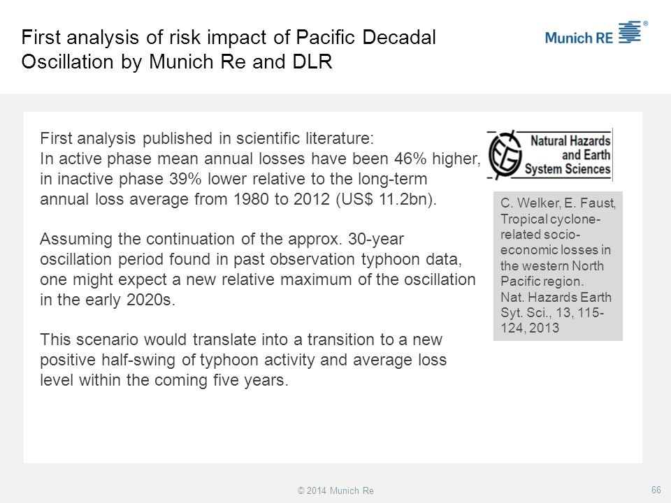First analysis of risk impact of Pacific Decadal Oscillation by Munich Re and DLR