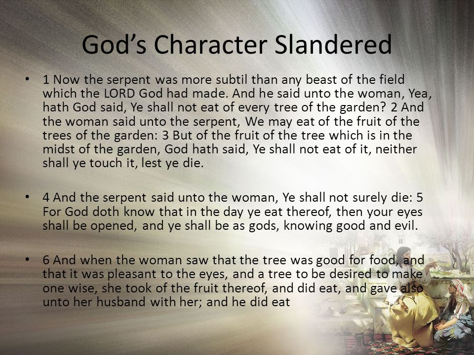 God's Character Slandered