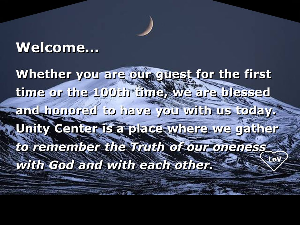 Welcome…