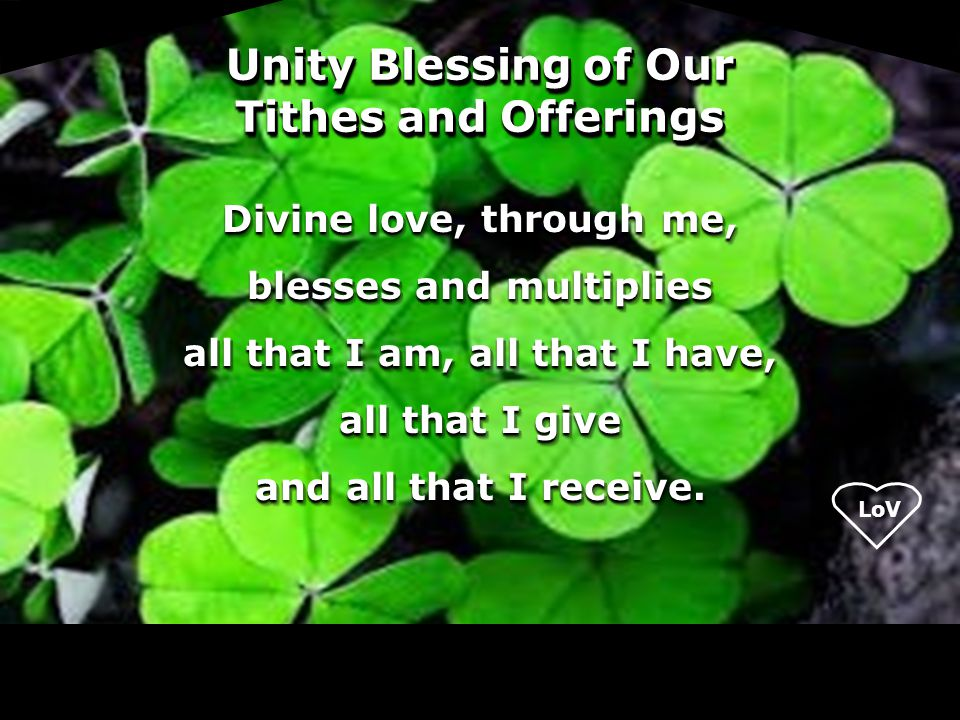 Unity Blessing of Our Tithes and Offerings