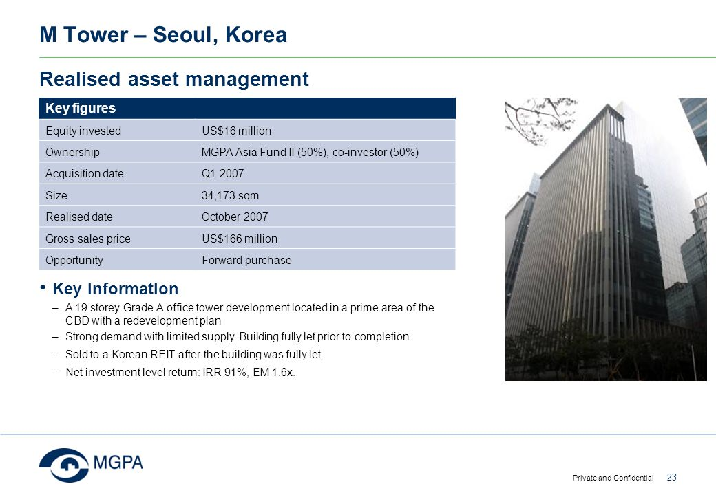 M Tower – Seoul, Korea Realised asset management Key information