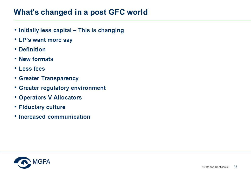 What s changed in a post GFC world