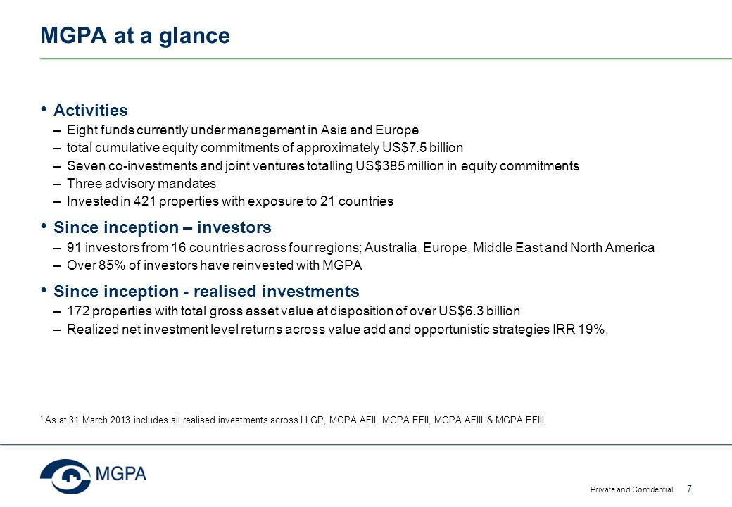 MGPA at a glance Activities Since inception – investors