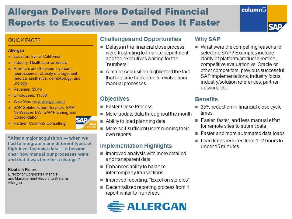 Allergan Delivers More Detailed Financial Reports to Executives — and Does It Faster