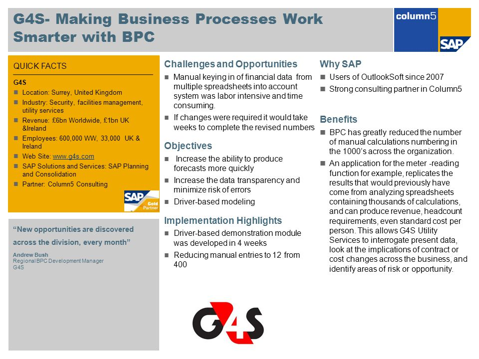 G4S- Making Business Processes Work Smarter with BPC