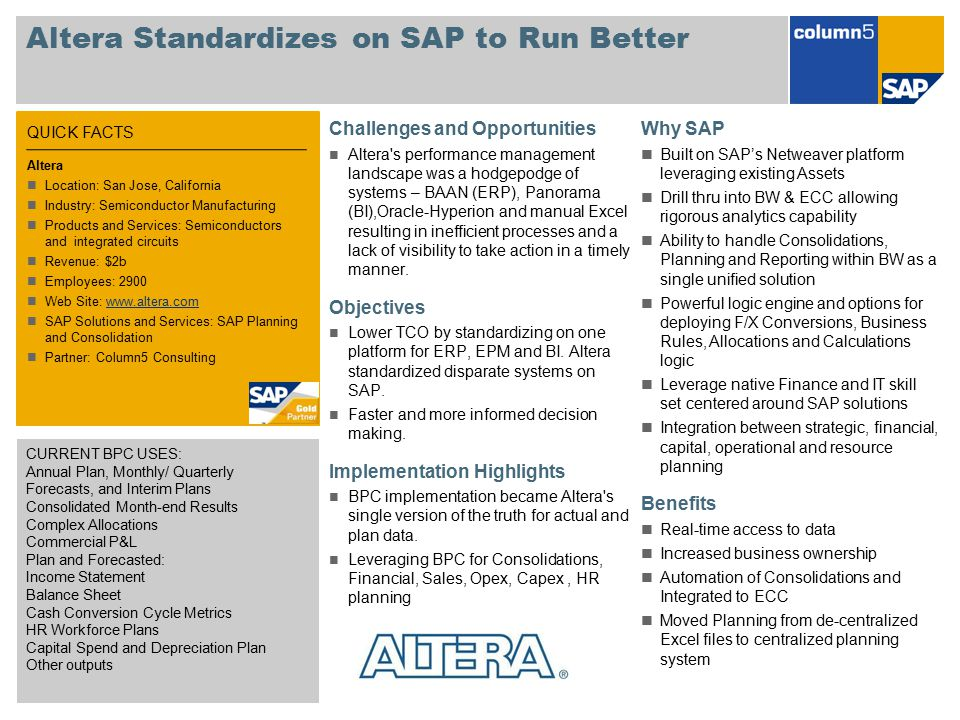 Altera Standardizes on SAP to Run Better