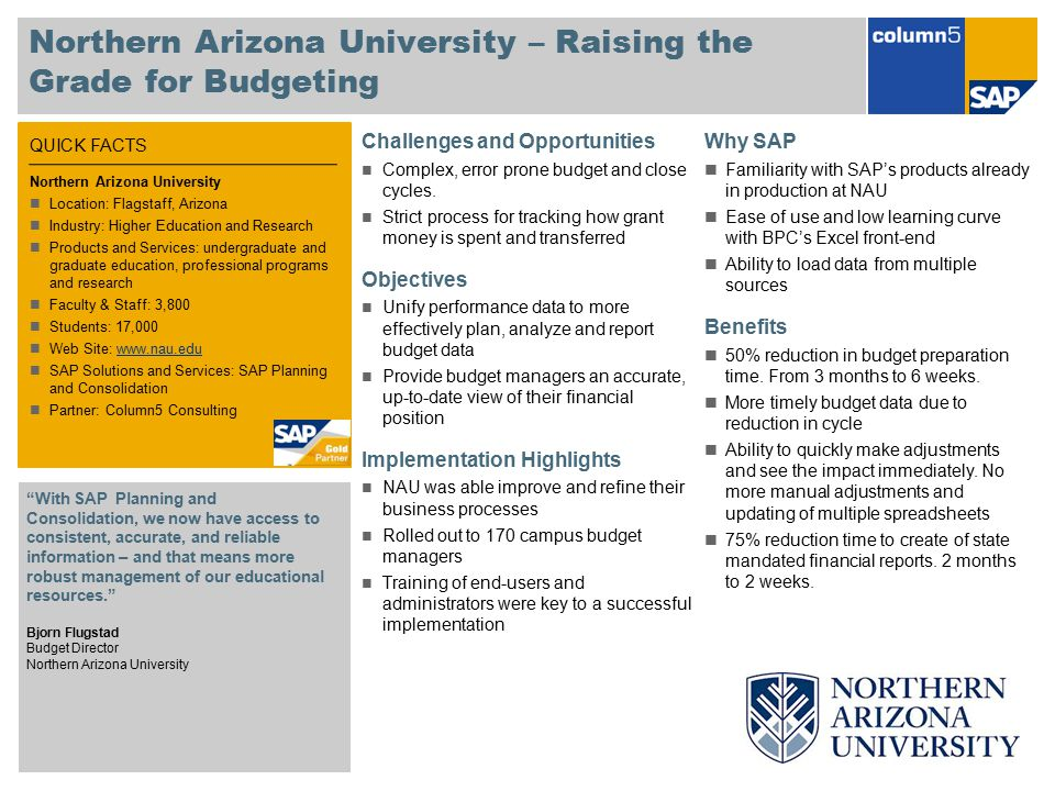 Northern Arizona University – Raising the Grade for Budgeting