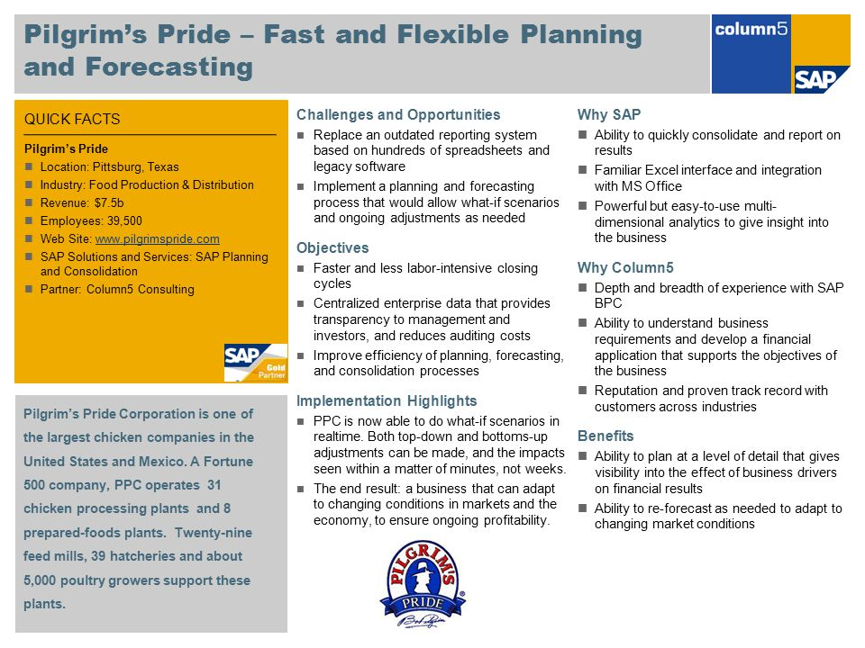Pilgrim's Pride – Fast and Flexible Planning and Forecasting