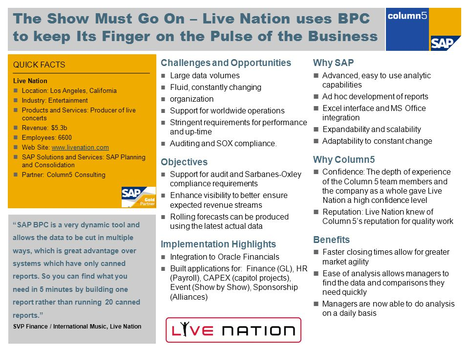 The Show Must Go On – Live Nation uses BPC to keep Its Finger on the Pulse of the Business