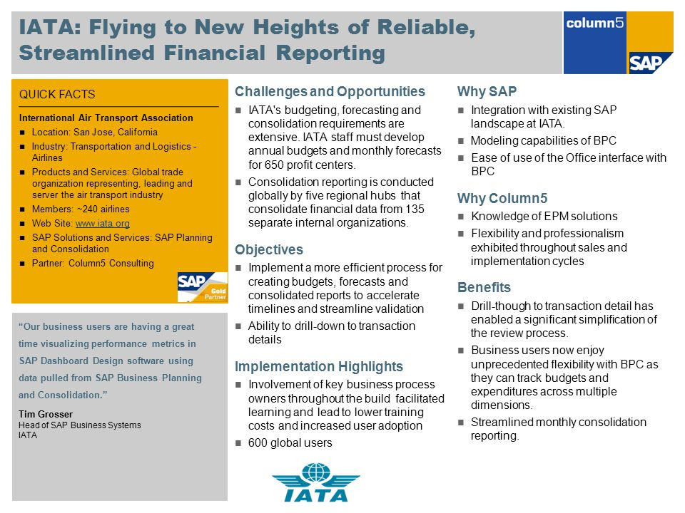 IATA: Flying to New Heights of Reliable, Streamlined Financial Reporting