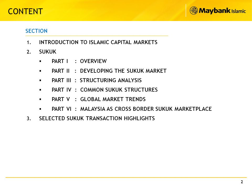 CONTENT SECTION INTRODUCTION TO ISLAMIC CAPITAL MARKETS SUKUK