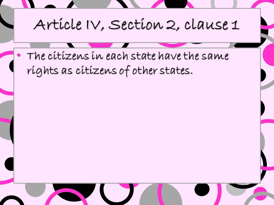 Article IV, Section 2, clause 1