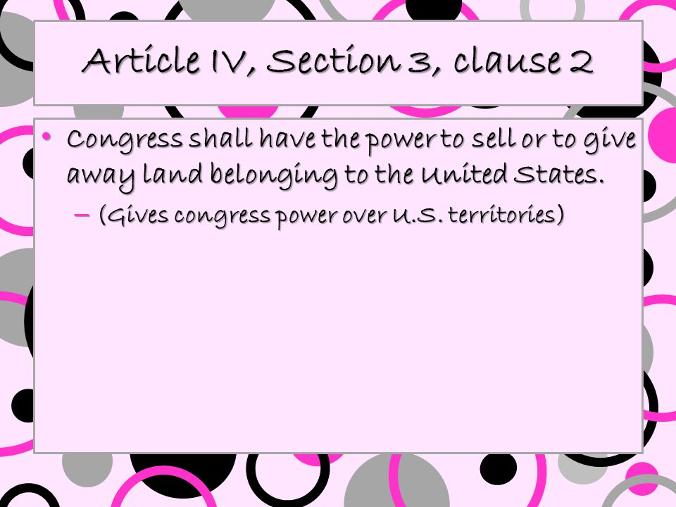 Article IV, Section 3, clause 2