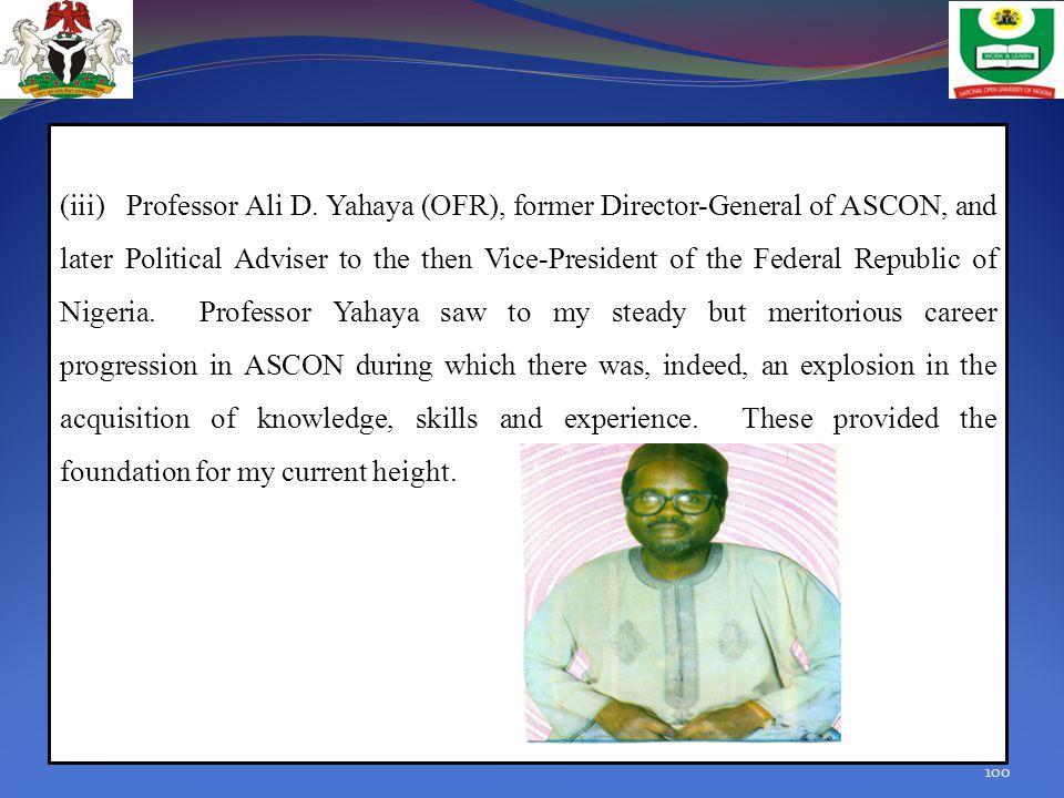 (iii) Professor Ali D.