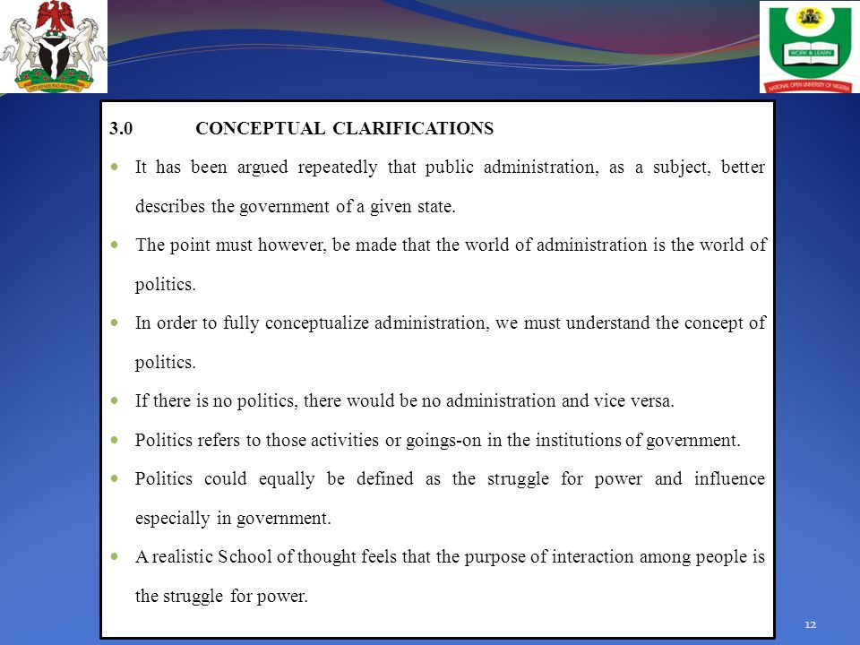 3.0 CONCEPTUAL CLARIFICATIONS