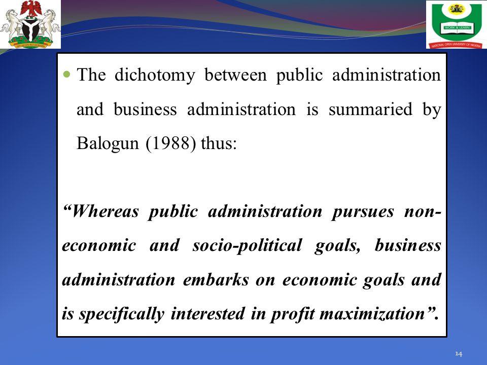 administration politics dichotomy