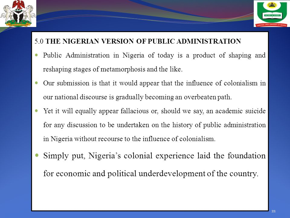 5.0 THE NIGERIAN VERSION OF PUBLIC ADMINISTRATION