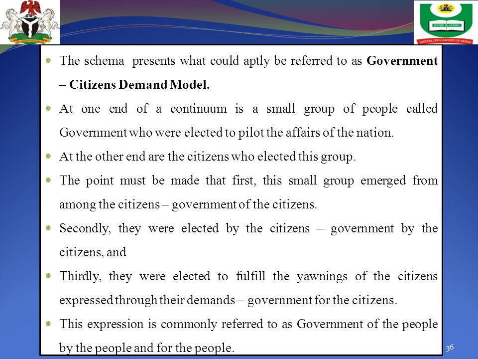The schema presents what could aptly be referred to as Government – Citizens Demand Model.