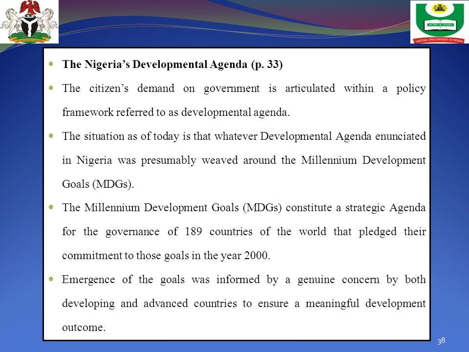 The Nigeria's Developmental Agenda (p. 33)