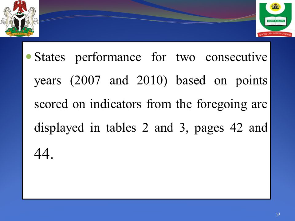 States performance for two consecutive years (2007 and 2010) based on points scored on indicators from the foregoing are displayed in tables 2 and 3, pages 42 and 44.