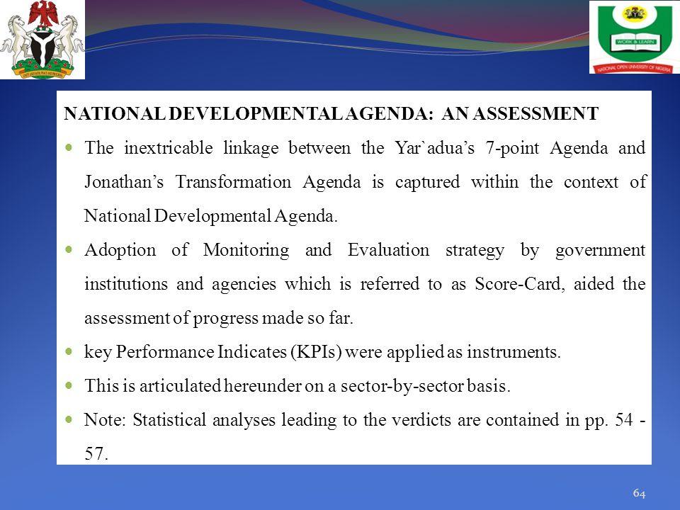 NATIONAL DEVELOPMENTAL AGENDA: AN ASSESSMENT