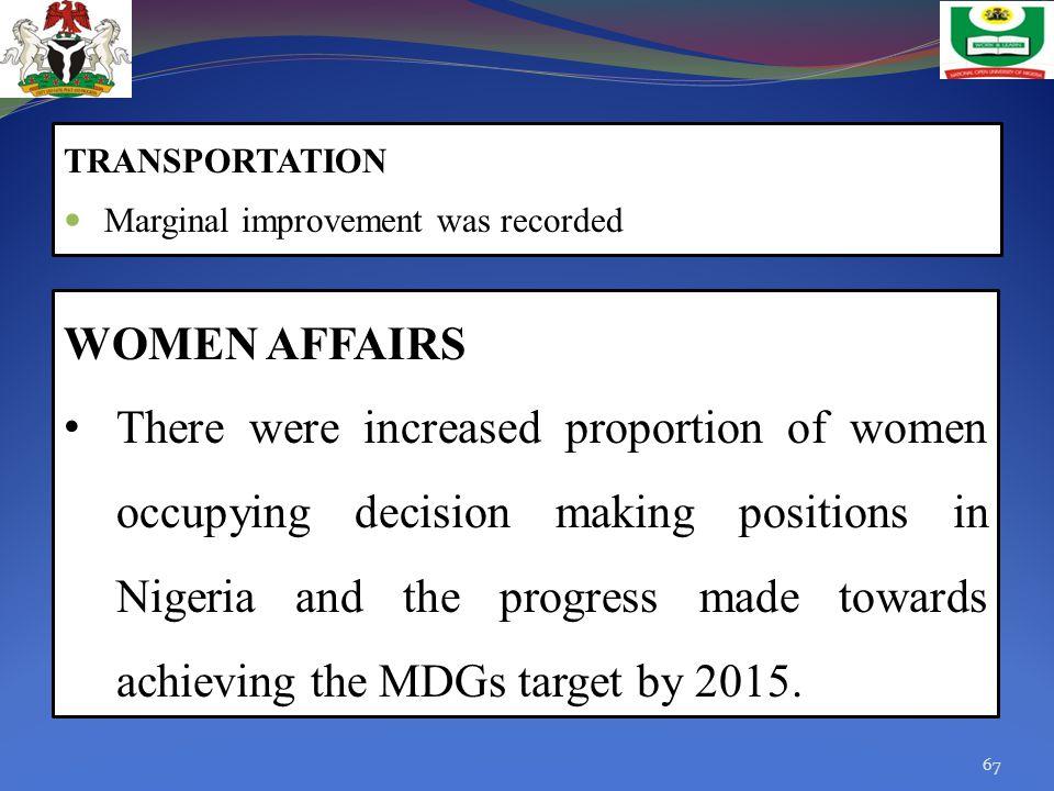 TRANSPORTATION Marginal improvement was recorded. WOMEN AFFAIRS.