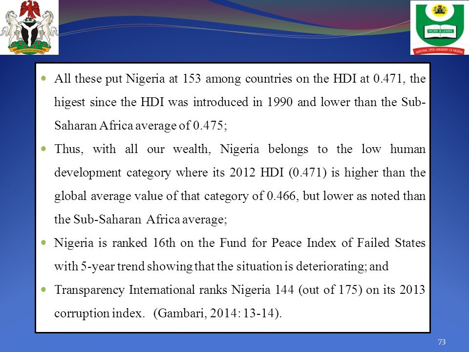 All these put Nigeria at 153 among countries on the HDI at 0