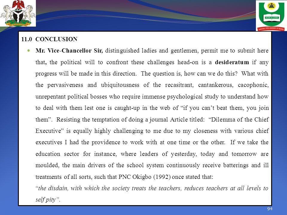 11.0 CONCLUSION