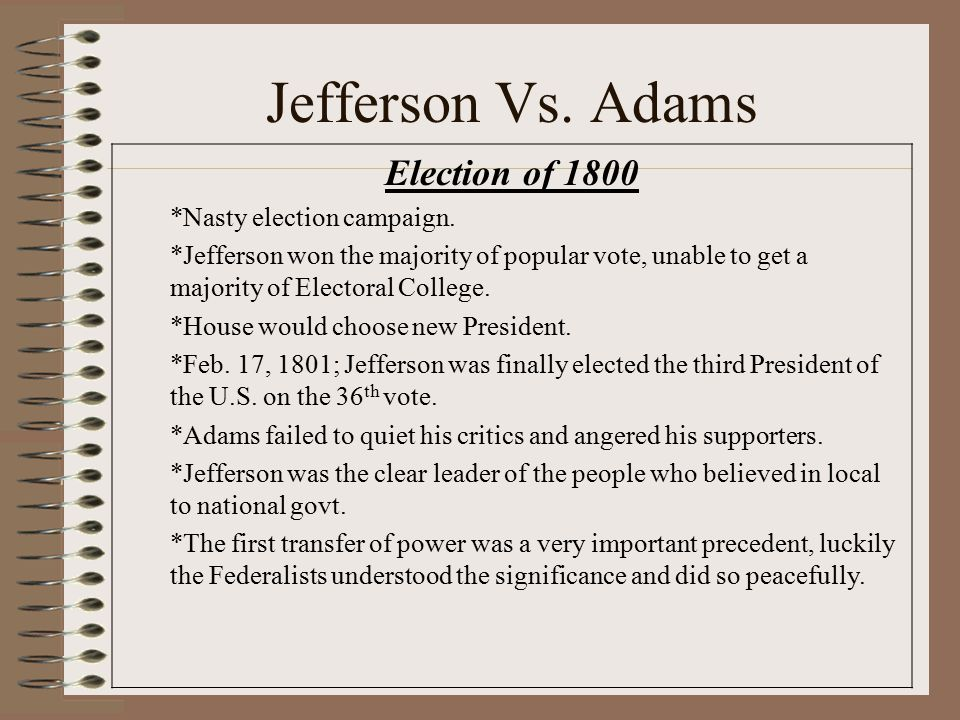 Jefferson Vs. Adams Election of 1800 *Nasty election campaign.