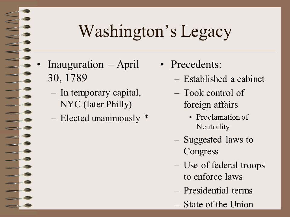 Washington's Legacy Inauguration – April 30, 1789 Precedents: