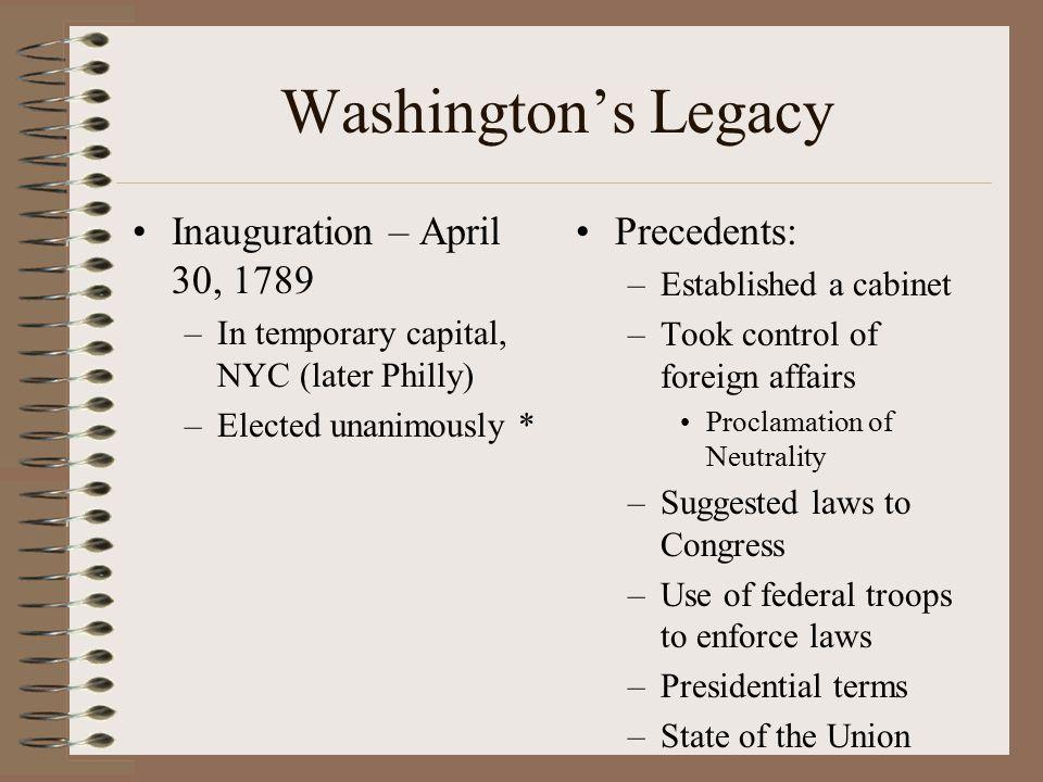 Washington's Legacy Inauguration – April 30, 1789 Precedents: