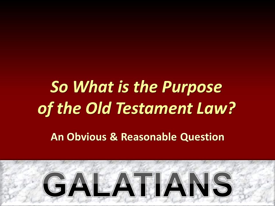 So What is the Purpose of the Old Testament Law