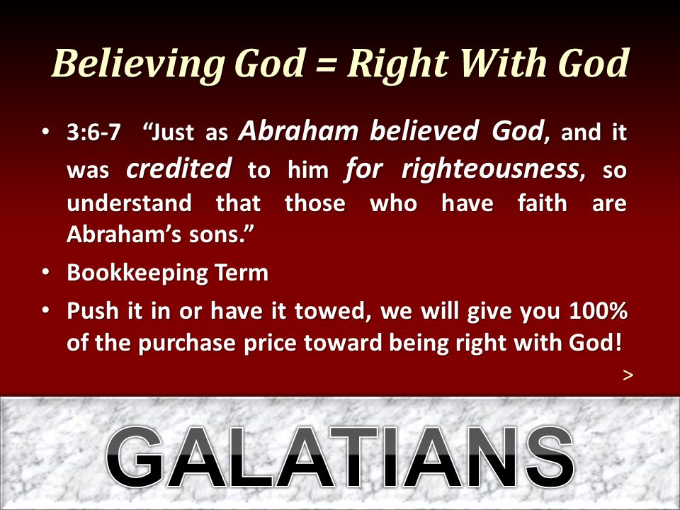 Believing God = Right With God